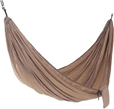NOVICA Brown Beige Parachute Portable 2 Person XL Camping Hammock with Hanging Straps, Uluwatu Tan' (Double)