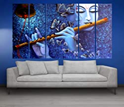 Kyara arts Big Size Multiple Frames, Beautiful Radha Krishna with bansuri Wall Painting for Living Room, Bedroom, Office, Hotels, Drawing Room Wooden Framed Digital Painting (60inch x 30inch)