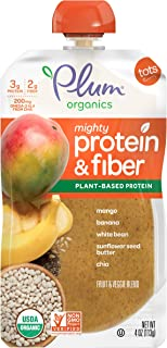Plum Organics Mighty Protein & Fiber, Organic Toddler Food, Mango, Banana, White Bean, Sunflower Seed Butter & Chia, 4 ounce pouch (Pack of 12) (Packaging May Vary)
