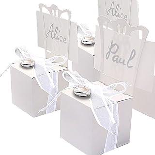 EinsSein 48 Stück Kartonagen Gastgeschenke Hochzeit Tischkartenhalter Stuhl Weiss mit Namenskärtchen Hochzeitsmandeln Kartonage Geschenkboxen Geschenkbox Taufe Taufmandeln Kommunion Tischkarten