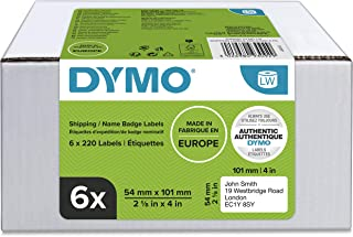 DYMO Authentic LW Large Shipping Labels/Name Badges, 54mm x 101mm, 6 Rolls of 220 Easy-Peel Labels (1, 320 Count), Self-Ad...