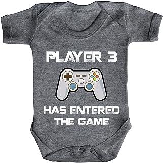 ShirtStreet Vatertag Gamer Geek Nerd Strampler Bio Baumwoll Baby Body kurzarm Player 3 has entered the Game