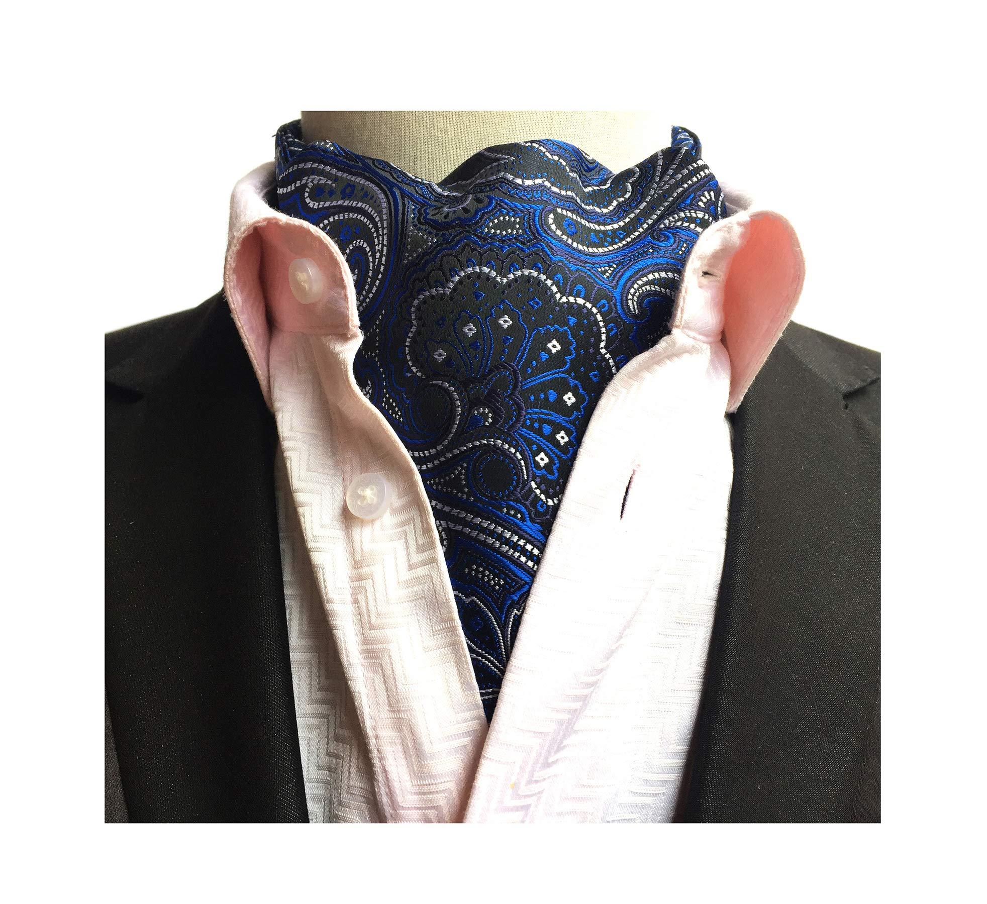 Secdtie Mens Polka Dot Plaid Silk Cravat Ties Jacquard Woven Casual Ascot