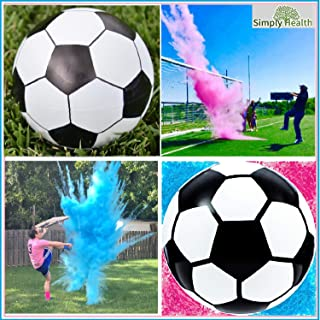 Gender Reveal Soccer Ball, Pink and Blue Powder Kit for Baby Boy Girl Gender Reveal Party. Biggest Soccer Ball Most Powder Biggest Puff and Great Photos Opportunity