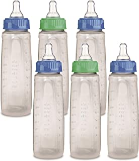 First Essentials by NUK Bottle, 9 oz, Medium Flow, 6-Pack, Blue/Green