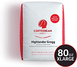 Coffee Bean Direct Highlander Grogg Flavored, Ground Coffee, 5-Pound Bag