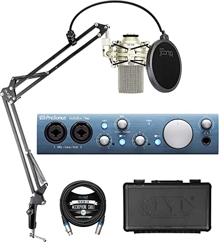 PreSonus AudioBox iTwo 2x2 USB/iOS Audio Interface for Windows, iOS Bundle with Studio One Artist, MXL 990 Cardioid Condenser Microphone, Blucoil Boom Arm Plus Pop Filter and 10-FT Balanced XLR Cable