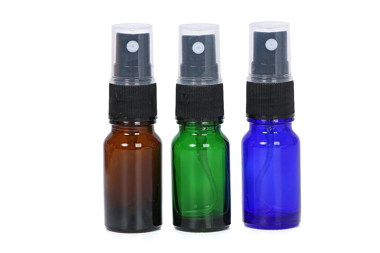 書き出す玉繁栄スプレーボトル 遮光瓶 3色 10ml ガラス製 オリジナルラベルシールのおまけ付き