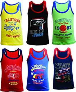 BODYCARE Printed Boys Gym Vest Pack of 6(Color & Print May Vary)