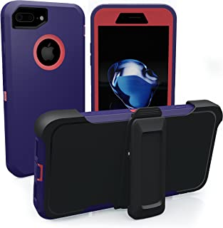 iPhone 7 Plus Case, iPhone 8 Plus Case, ToughBox [Armor Series] [Shockproof] [Purple   Hot Pink] for Apple iPhone 7/8 Plus Case [Screen Protector] [Holster & Belt Clip] [Fits OtterBox Defender Clip]