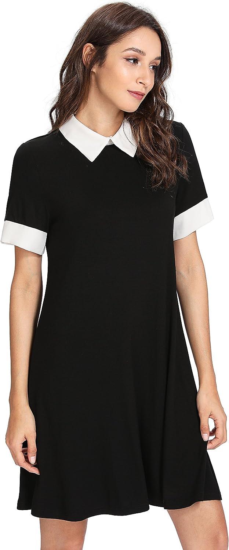 Very popular Floerns Women's Peter Discount mail order Pan Collar Sleeve Short Dress Tunic