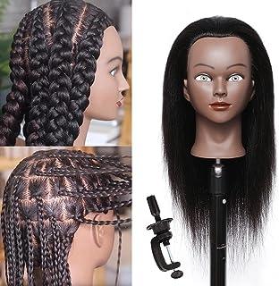 "Mannequin Head with Human Hair 16""100% Real Hair Cosmetology Mannequin Manikin Training Head Hair Hairdresser Styling Mann..."