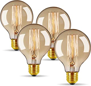 Vintage Edison Bulbs 40W/110V E26 E27 Base Dimmable Incandescent Bulb for Home Decoration (4 Pack) (Round Antique)