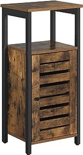 VASAGLE LOWELL Storage Cabinet, Standing Cabinet, Industrial Floor Cabinet, Side Cabinet with Shelf, Multifunctional in Li...