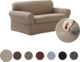 MAYTEX Pixel Ultra Soft Stretch 2 Piece Loveseat Furniture Cover Slipcover, Sand