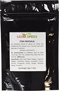 Leena Spices Fish Curry Masala Powder Spice Original Blend of 13 Fresh Premium & Pure Quality Seasoning, Gluten Free, Salt Free, Easy To Cook Curry Recipe on the Back Cover, 50g/1.76oz