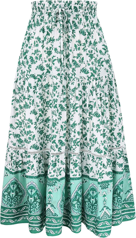 CHARTOU Women's Summer Boho Ethnic Elastic Waist Floral Print Beach Ruffled Maxi Skirt