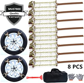 MUSTBEE Tire Chains, Snow Chains for suvs, Cars, Sedan, Family Automobiles,Trucks with Update Adjustable Lock for Ice, Snow,Mud,Sand,Applicable Tire Width 205-275mm/8.07-10.8in(8 Pack)