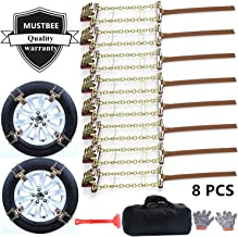 Tire Chains, Snow Chains for suvs, Cars, Sedan, Family Automobiles,Trucks with Update Adjustable Lock for Ice, Snow,Mud,Sand,Applicable Tire Width 205-275mm/8.07-10.8in(8 Pack)