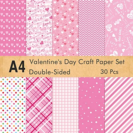 21 x 28.5cm Decorative Paper for Card Making Scrapbook Decoration Valentines Day Supplies,10 Designs KUUQA 30 Sheets Valentine Pattern Paper Set