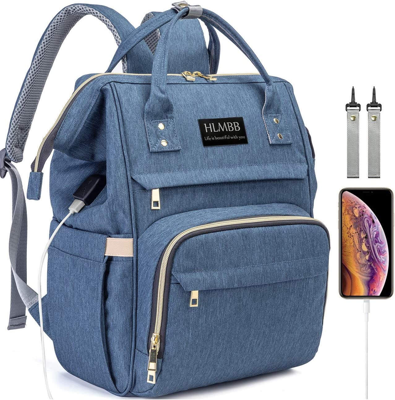 Diaper Bag Backpack for Mom Waterproof Large Space Capacity Organizer Travel Portable For Newborn Girl Boy Girls Boys Kids Babies Toddlers Phone Usb Charging Port Toy Accessory Stuff Insulated Pocket Diaper (1.blue)