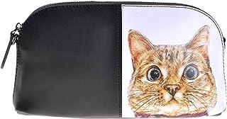 ZLYC 斜め掛けバッグ がまぐち 財布 本革 かわいい 手作り 硬い 長方形 小型 猫イラスト 2way使い方