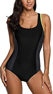 belamo Women's Athletic One Piece Swimsuit Racing Racerback Swimwear