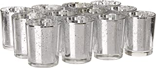 Candles4Less - Mercury Glass Votive Candle Holders, Perfect for Home decoration, events and weddings (12, Silver)