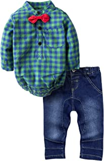 BIG ELEPHANT Baby Boys' 2 Piece Shirt Pants Clothing Set with Bowtie