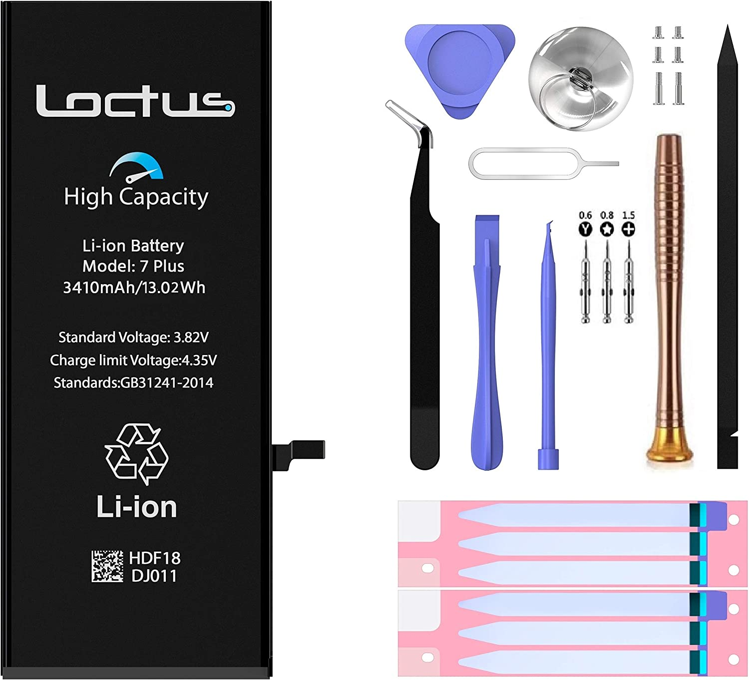 iPhone 7 Plus Battery Replacement Kit 3410 mAh High Capacity Li-ion Battery with Professional Toolkit, Adhesive Tape and Instructions Included by Loctus - 24 Months Warranty (Apple iPhone 7 Plus)