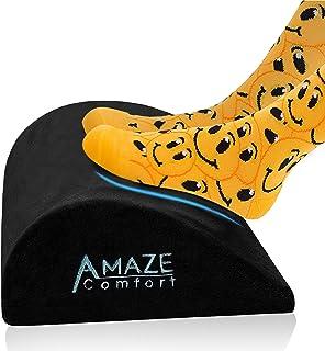 Foot Rest Under Desk Cushion - Ergonomic Teardrop Curve Design for Extra Leg Support - Comfortable Velour - Non-Slip Botto...