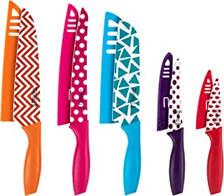 MICHELANGELO Kitchen Knife Set 10 Piece, Knife Sets for kitchen, High Carbon Stainless Steel Kitchen Knife Set, Colored Ki...