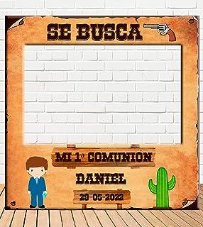 Photocall de Comunión Niño del Oeste 100x100cm | Detalles Comunión | Photocall Económico y Original |