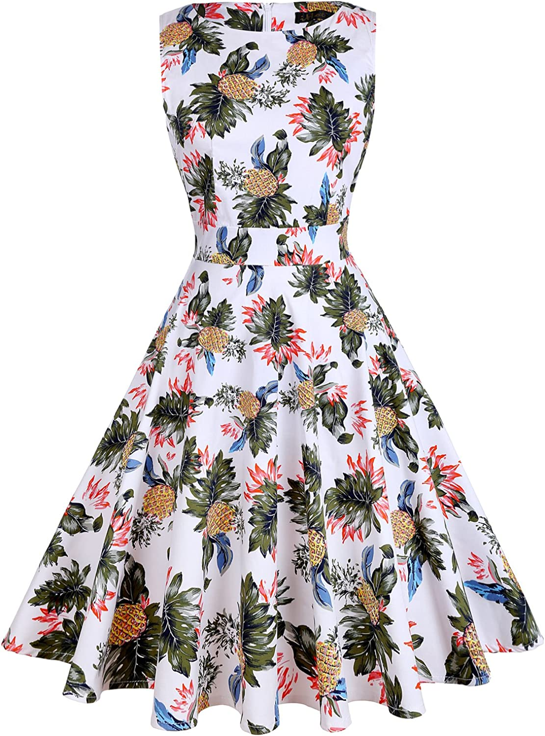 Ihot Vintage 1950's Floral Spring Summer Dress Garden Picnic Party Cocktail Dress