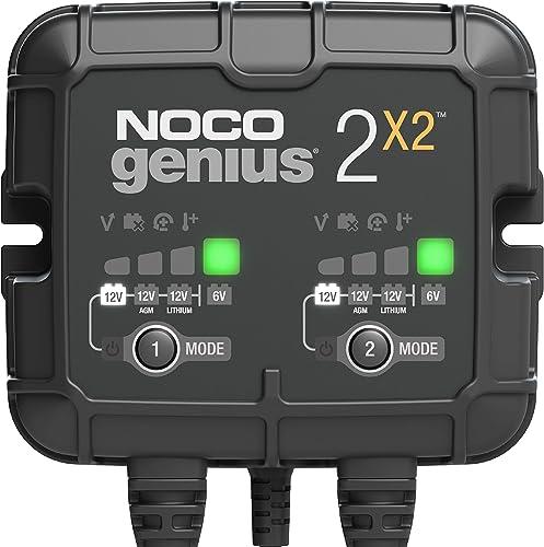 NOCO GENIUS2X2, 4A (2A por banco) cargador de batería automático inteligente portátil de 6V y 12V, mantenedor de bate...