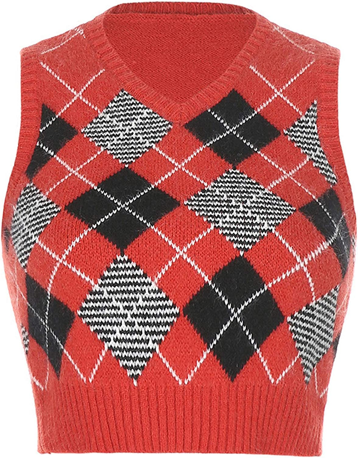 Women Plaid Knitted Sweater Vest Preppy Style Knitwear Tank Top V-Neck Sleeveless Casual Pullover Tank Tops (Red 1,Small)