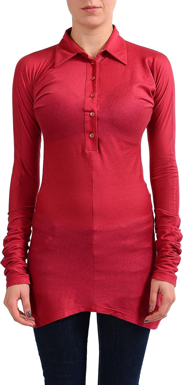 MAISON MARGIELA  1  Women's Red Long Sleeve Polo Shirt US S IT 40