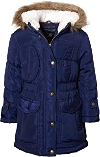 Girls Fashion Winter Puffer Jacket Coat with Sherpa Lined Fur Trim Hood