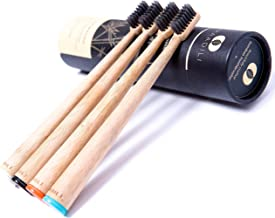 Natural Charcoal Bamboo Toothbrush - Soft Medium Charcoal Bristle - Pack of 4 Toothbrushes - BPA Free Bristles - Non Elect...