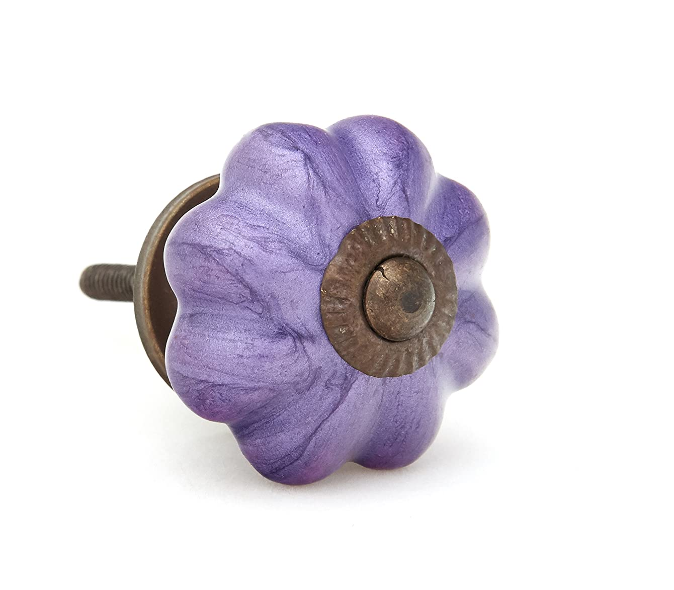 Neon Purple Pumpkin Shaped Ceramic Drawer Pull, Cabinet Knob
