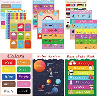 12 Pieces Educational Preschool Poster,Educational Posters and Classroom Decorations for Preschool - Early Learning Charts for Pre-K, Kindergarten, Daycares and Home School (16 x 11 Inch)
