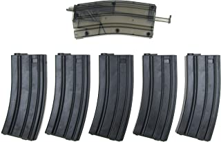 SRC SR4 Airsoft M4 Mid-Cap Magazine Box Set of 5 pcs (140 Rounds) w/ M4 Shape BBS Loader (Compatible with Most M4/M16 Airsoft AEG)