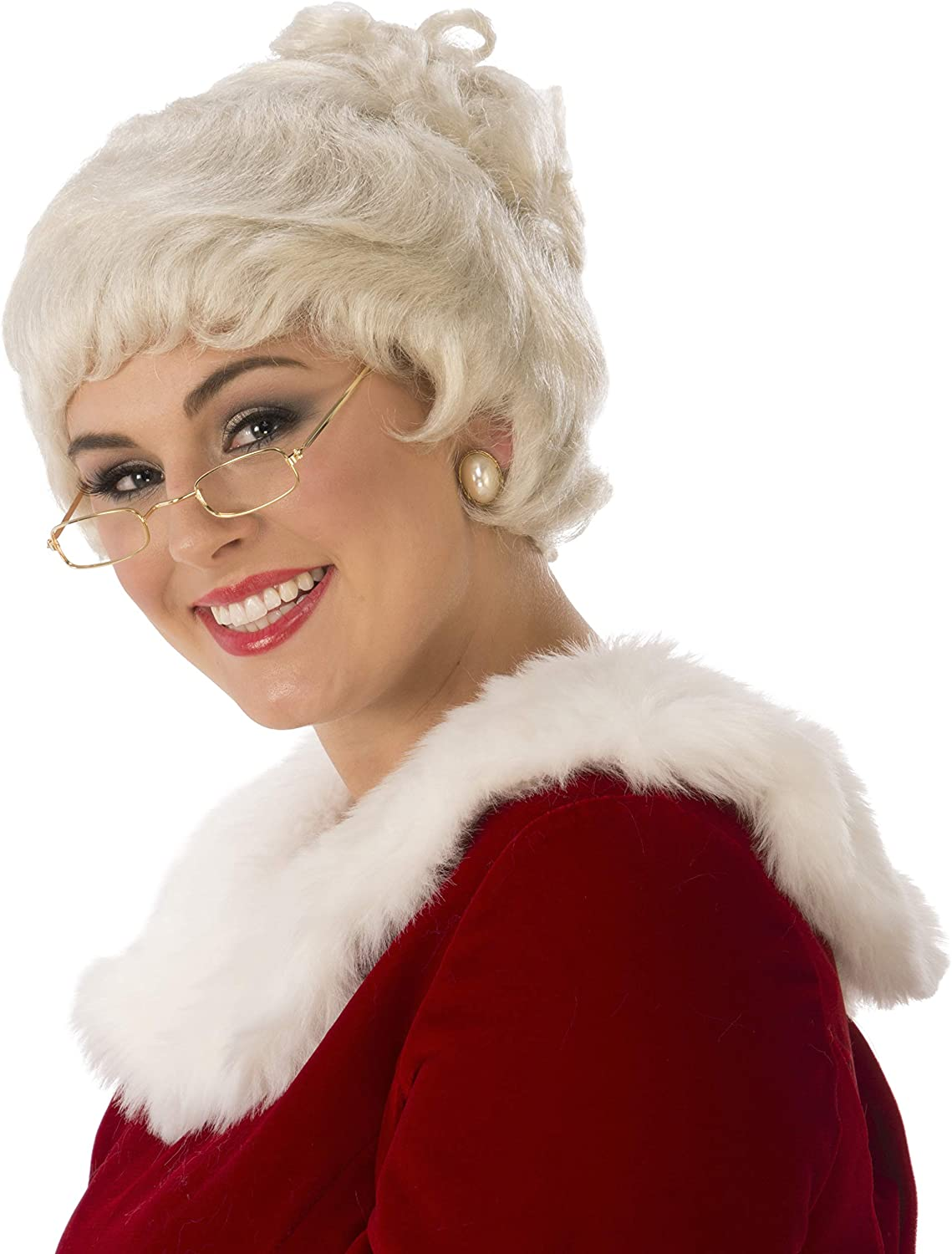Rubie's womens Deluxe Mrs. Claus Costume US trust One OFFicial site Wig Size White