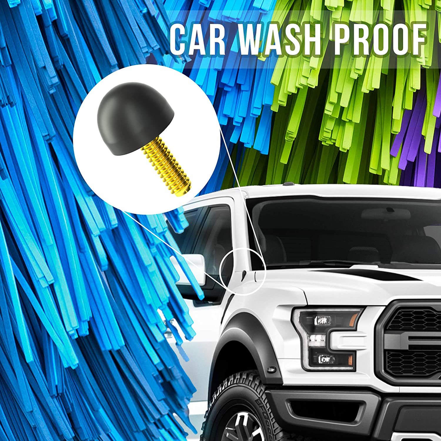 KSaAuto Antenna Delete Compatible with Ford F150 2009-2021-Car Wash Proof-Short and Compact Size