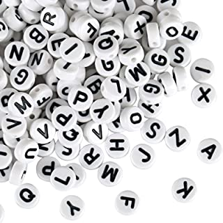 Naler 1200 Abalorios Letras Redondas Cuentas Alfabeto para Pulseras DIY Manualidades(6mm, 26 Letras)
