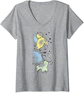 Femme Disney Peter Pan Tinkerbell Airbrush Style Sketch T-Shirt avec Col en V