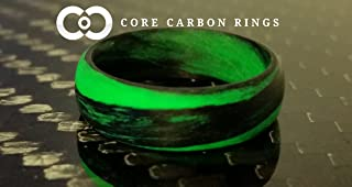 Men's or Women's Carbon Fiber Green Marbled Glow Ring - Handcrafted - Black and Green Glowing Band - Custom Band widths