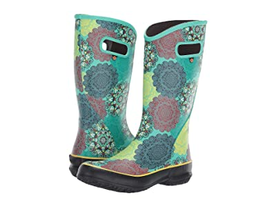 Bogs Mandala Rain Boot (Mint Green Multi) Women