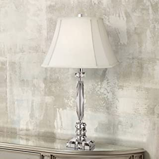 Mitzie Traditional Table Lamp Crystal Cut Column Geneva White Square Shade for Living Room Family Bedroom Office - Vienna Full Spectrum