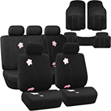 FH Group FH-FB053115 Floral Embroidery Design Full Set Car Seat Covers Black Color, Airbag Compatible and Split Bench with F11306 Vinyl Floor mats- Fit Most Car, Truck, SUV, or Van